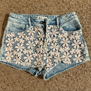 Roxy High Waisted Crochet Jean Shorts